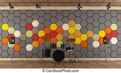 Black drums in a recording studio