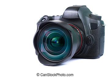 Black DSLR Camera isolated on white background.