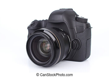 Black DSLR Camera isolated on white background