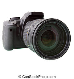 Black DSLR camera isolated over white backgrouhnd