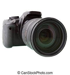 Black DSLR camera isolated over white backgrouhnd