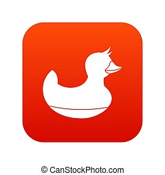 Black duck toy icon digital red