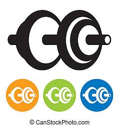 black dumbbell icon for design