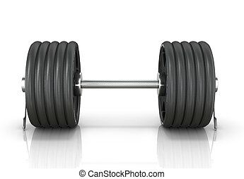 Black dumbbell isolated white background. 3d illustration.