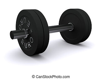 Black dumbbell on a white background