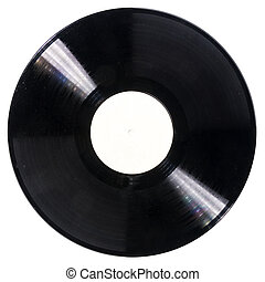 Black dusty vinyl record isolated on white background