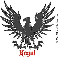 Black eagle attacking a prey heraldic icon - Black eagle...