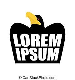 Black Eagle logo. Black Crow sign. head of hawk emblem. bird of prey wit large beak on white background