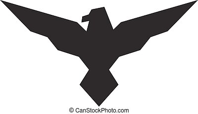 Black eagle logo on a white background. Vector illustration