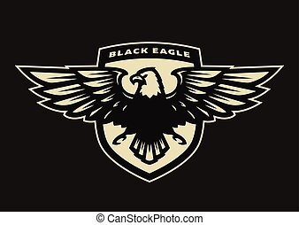 Black eagle symbol, emblem.
