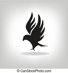 Black eagle with expanded wings - Black eagle isolated with ...