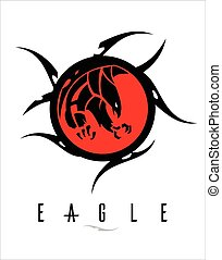 black eagle with the sharp big claw on the red circle tribal.