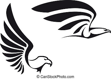 Black eagles isolated on white background for mascot or...