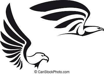 Black eagles isolated on white background for mascot or emblem design