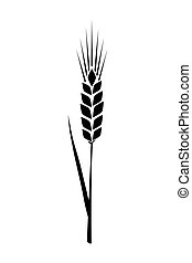 Black ears of wheat. Vector illustration on white isolated background