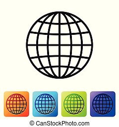 Black Earth globe icon isolated on white background. Set icon in color square buttons. Vector Illustration