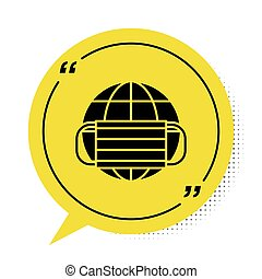 Black Earth globe with medical mask icon isolated on white background. Yellow speech bubble symbol. Vector