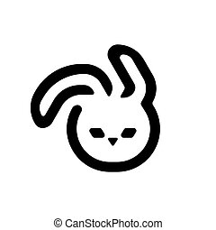Black easter bunny isolated on white background. Rabbit illustration.