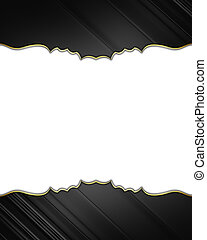 Black edges with gold trim isolated on white background....