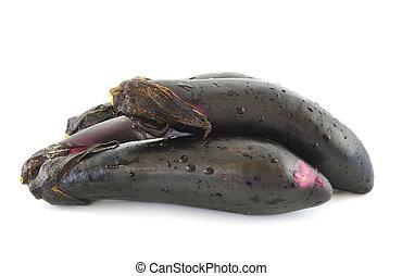 black eggplants isolated on white