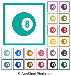 Black eight billiard ball flat color icons with quadrant frames