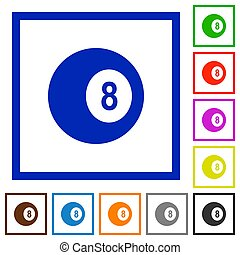 Black eight billiard ball flat framed icons