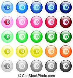 Black eight billiard ball icons in color glossy buttons