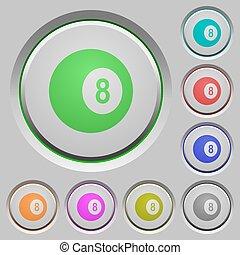 Black eight billiard ball push buttons