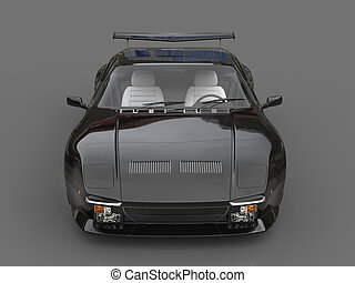 Black eighties sports car  - front view