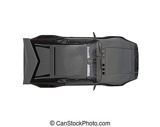 Black eighties sports car  - top down view