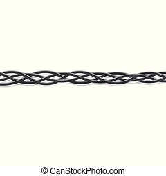 Black electric cables intertwined into a braid - vector illustration