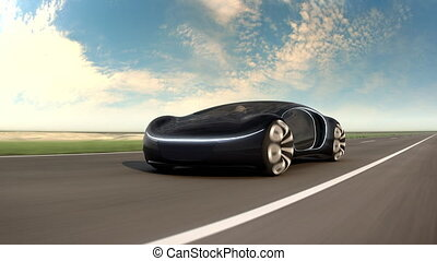 Black electric car on highway in sandy desert. Concept of future car. 4k animation.