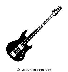 Black Electric Guitar Icon Cartoon Style Black Electric Guitar Icon In Cartoon Style On A White Background