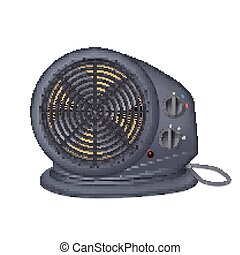 Black electric heater with fan, radiator appliance for space heating. Icon of domestic heater with electric cord. Isolated on white background, 3D illustration.