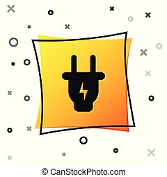 Black Electric plug icon isolated on white background. Concept of connection and disconnection of the electricity. Yellow square button. Vector Illustration