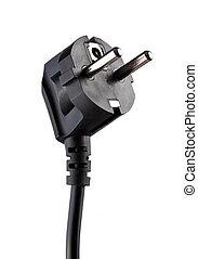 Black electric plug isolated on white background