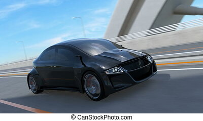 Black electric sports car driving on the highway. 3D...