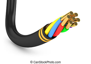 Black electrical cable - Black electrical cable. Isolated on...