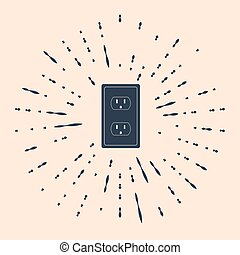 Black Electrical outlet in the USA icon isolated on beige background. Power socket. Abstract circle random dots. Vector Illustration