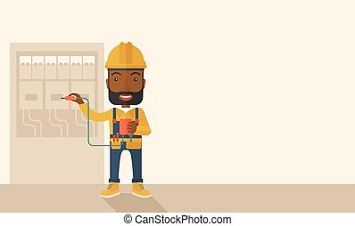 A black Electrician wearing hard hat repairing an electrical panel. A Contemporary style with pastel palette, soft beige tinted background. Vector flat design illustration. Horizontal layout with text space in right side.
