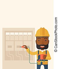 A black Electrician wearing hard hat repairing an electrical panel. A Contemporary style with pastel palette, soft beige tinted background. Vector flat design illustration. Vertical layout with text space on top part.
