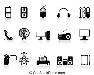 black , elektronisch, iconen, set