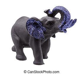 Black Elephant Figurine with Blue Glitter on white Background
