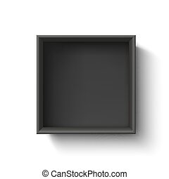 Black empty box, container isolated on white background.