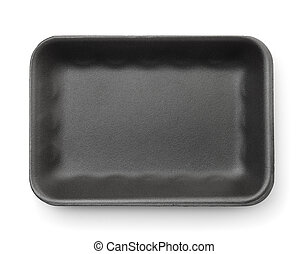 Black empty foam food tray - Top view of black empty foam...