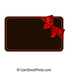 Black empty gift card template with red ribbon and a bow, isolated on white background, vector illustration.