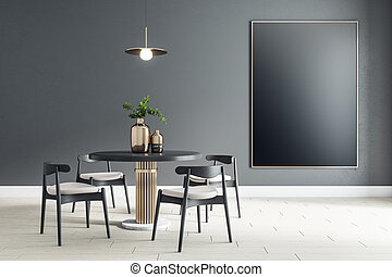 Black empty poster on black wall in modern dining room with round table and black wooden chairs on ceramic tiles floor. Mockup