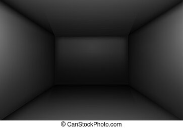 Black empty room - Black simple empty room interior, box....