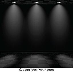 black , empty room, met, checkered, vloer