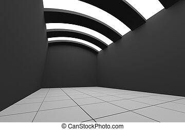 black empty room with curve ceiling